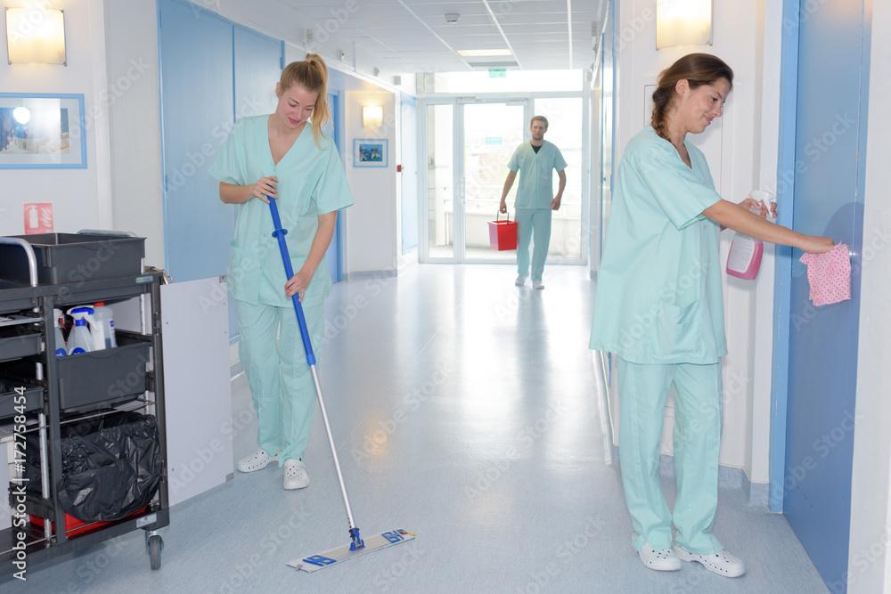 Fototapeta cleaning in hospital
