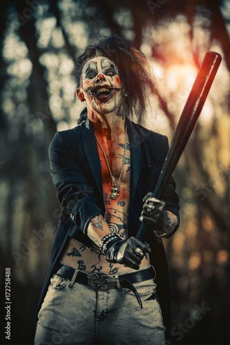 Fotografie, Obraz  crazy punk clown