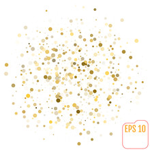 Vector Golden Glitter Polka Dot Pattern