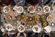 Outdoor roast turkey dinner party