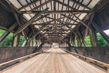Inside An Old Wooden Covered Bridge In New England