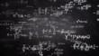 Handwritten mathematics formulas flying from chalkboard towards camera