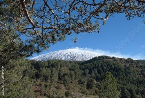 Fényképezés  Snowy Top Of Volcano Etna, Sicily