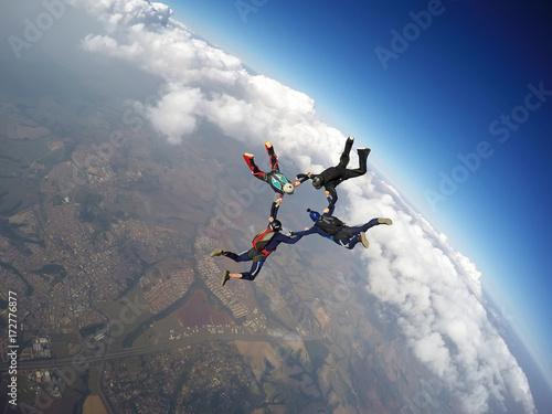 Skydiving team work star formation