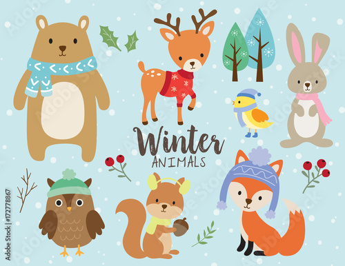 Vector illustration of cute winter animals including bear, deer, rabbit, bunny, owl, squirrel, bird and fox wearing winter outfits. Wall mural