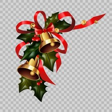 Christmas Decoration Gold Bells On Holly Wreath Bow Vector Isolated Transparent Background