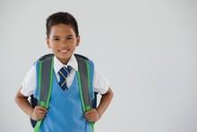 Schoolboy In School Uniform Wi...