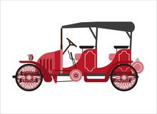 Old Car Or Vintage Retro Collector Coach Cab Wehicle Vector Flat Icon