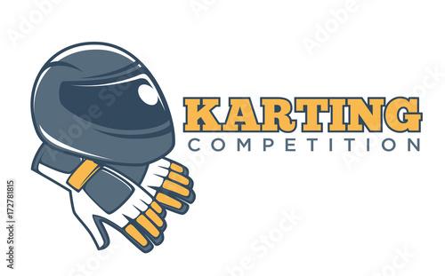 karting club or kart races sport competition vector racer helmet