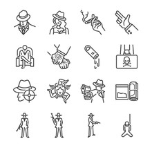 Mafia And Gangster Line Icon Set. Included The Icons As Boss, Mafia, Pistol, Illegal Trade, Killer, Crime And More.