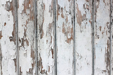 Old White  Fence Boards With Rusty Nails Background
