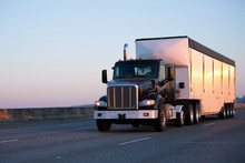 Dark Big Rig Semi Truck With B...