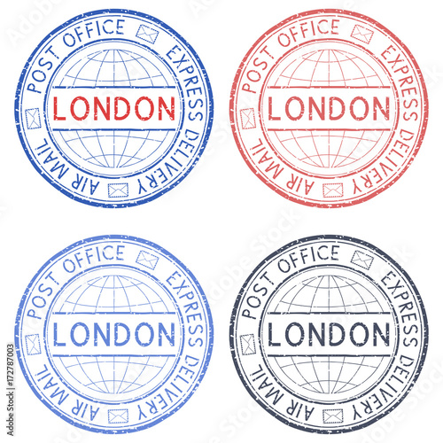 colored postmarks london express delivery round ink stamps buy