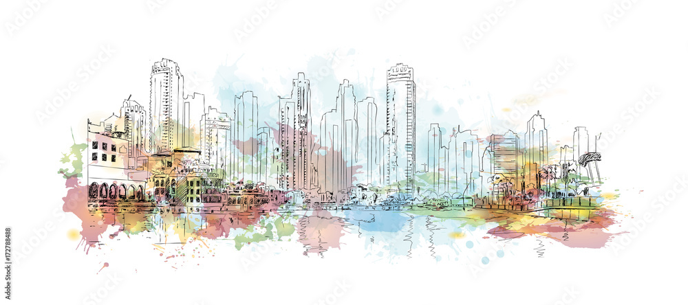 Watercolor sketch of Dubai city buildings in vector illustration.