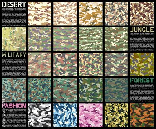 Fotomural  Camouflage pattern set vector