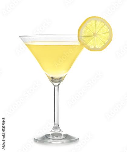 Pinturas sobre lienzo  Glass of lemon drop martini on white background