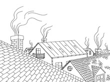 Roof Graphic Black White City ...