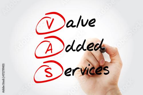 Valokuva  Hand writing VAS - Value Added Services acronym with marker, concept background