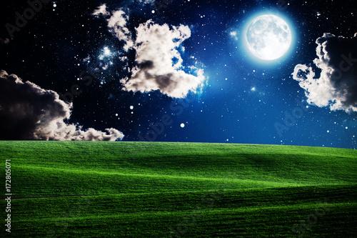 Zdjęcie XXL zielone nocne pole. niebo w gwiazdę
