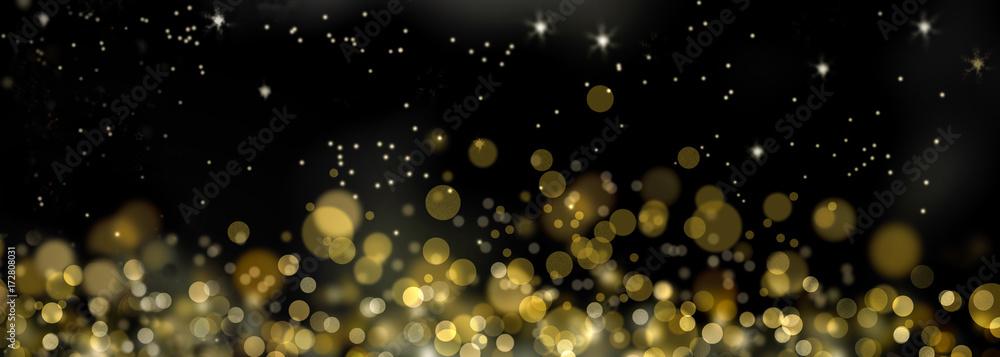 Fototapety, obrazy: fond de lumières abstraites  dorée dans la nuit