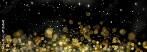 Fotografía fond de lumières abstraites  dorée dans la nuit