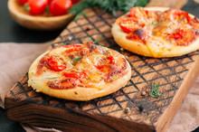 Mini Pizzas Margheritas On Ser...