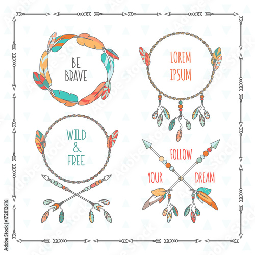 Photo  Vector tribal boho style frames with inspirational quotes