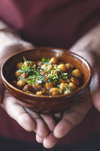 Chef With A Chickpeas Bowl In His Hands