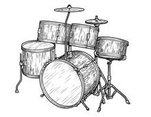 Set Of Drums Illustration, Dra...