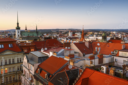 Deurstickers Oost Europa Old town of Brno as seen from the town hall tower.
