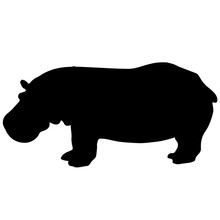 Black And White Vector Hippo S...