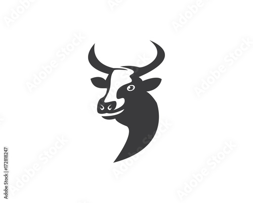 cow head silhouette logo design icon template buy this stock