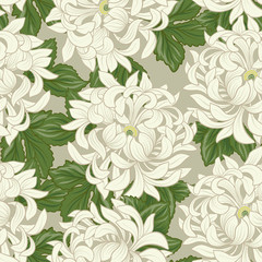 FototapetaSeamless pattern with white chrysanthemum in Japanese style. Vec