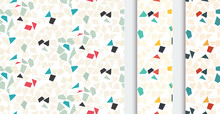 Abstract Geometric Seamless Pattern With Different Simple Geometric Shapes, In Three Color Versions