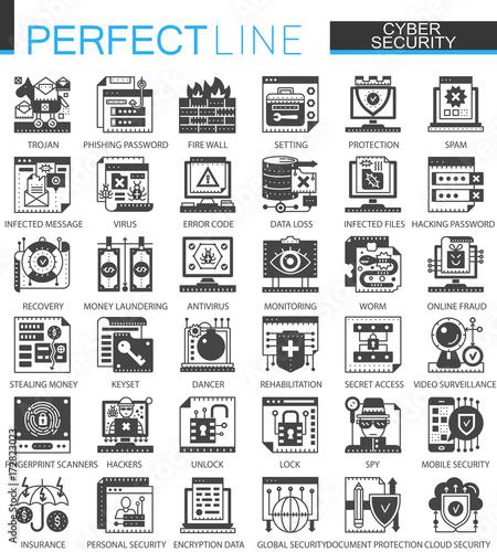 Fotografía  Cyber security classic black mini concept symbols