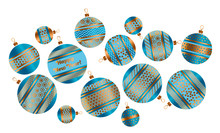 Assorted Christmas Stylized Bauble Decor Vector Illustration In Blue And Gold Colors. Xmas Tree Decoration Balls With Stripe, Dots And Snowflakes Ornament