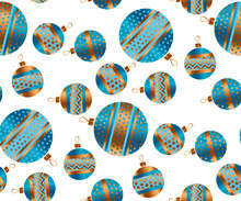 Blue And Gold Christmas Bauble Decor Stylized Vector Seamless Pattern. Xmas Tree Decoration Balls With Stripe, Dots And Snowflakes Ornament Illustration