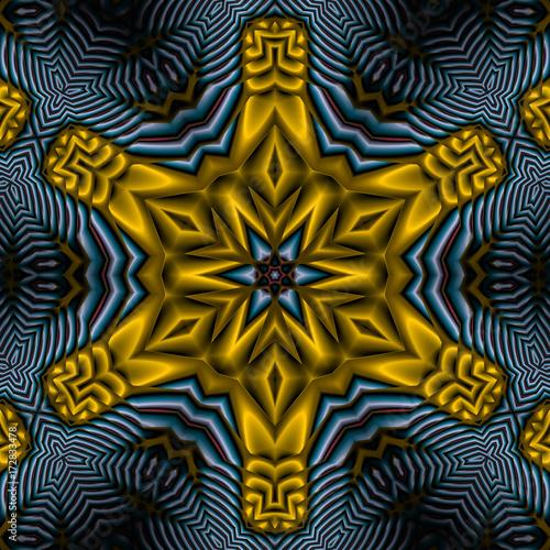 Plakat 3d ilustracja - abstrakcjonistyczny heksagonalny gwiazdowy kształt