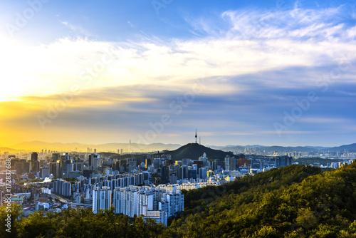 Zdjęcie XXL Rano na panoramę miasta Seulu.