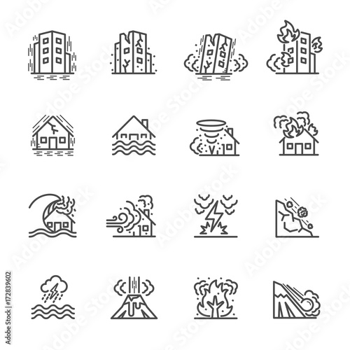 Fotografia Natural Disaster, Vector illustration of thin line icons for Natural Disaster Co