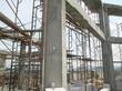 Casted concrete column at the construction site.