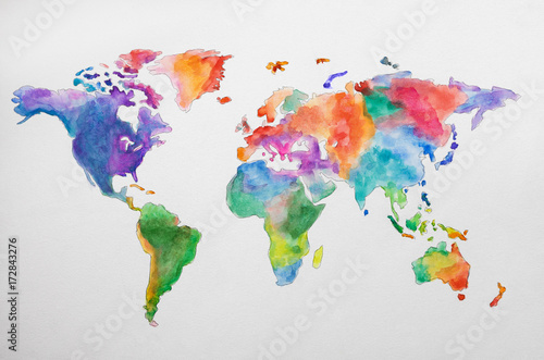 Continent world map against white background