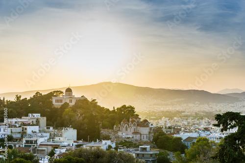 Zdjęcie XXL widok budynków wokół miasta Ateny, Grecja