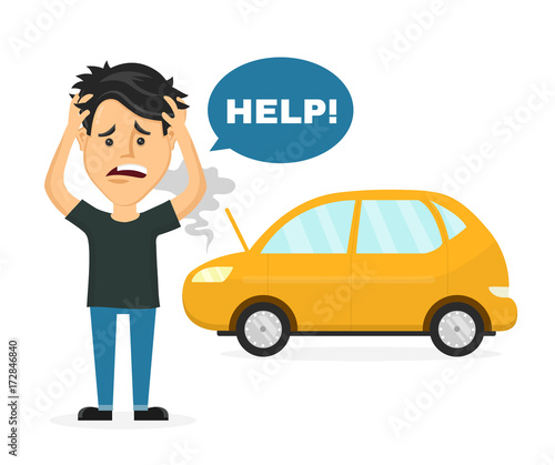 Staande foto Cartoon cars Frustrated sad young man near a broken car hold hands behind his head. Vector flat style cartoon character illustration. Isolated on white background. Auto accident, breaking, need car service concept