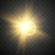 Shining Vector Golden Sun With...