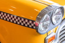 Yellow Taxi Car Close Up Head Light For Taxi Driver Background Concept
