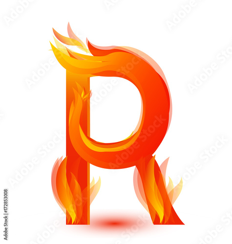 Photo  Letter R in fire flame icon vector