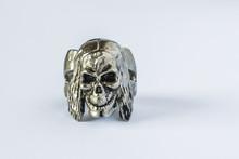 Silver Skull Ring On White Background
