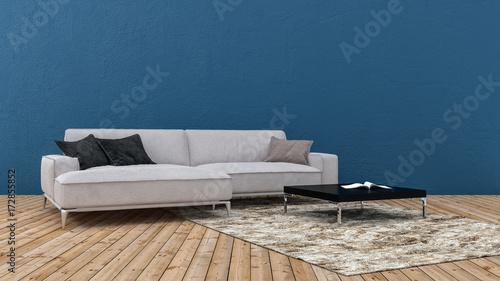 Uberlegen Beige Couch Steht Vor Blauer Wand