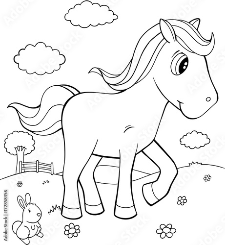 Cute Pony Horse Vector Illustration Art